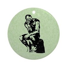 Rodin Thinker Christmas Ornament (Round)