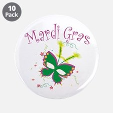 "Mardi Gras Mask 3.5"" Button (10 pack)"