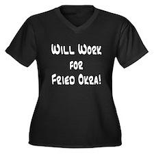 Will Work for Fried Okra! Women's Plus Size V-Neck
