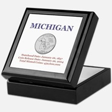 Michigan State Quarter with F Keepsake Box