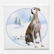 Whippet Noel Tile Coaster