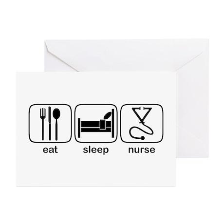 Eat Sleep Nurse 2 Greeting Cards (Pk of 10)