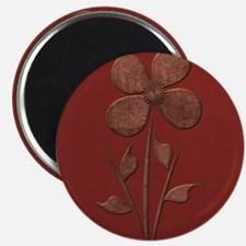 Cute Copper Flower Red Canvas Magnets