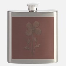 Cute Copper Flower Red Canvas Flask
