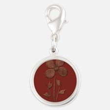Cute Copper Flower Red Canvas Charms