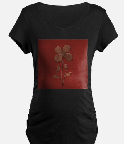 Cute Copper Flower Red Canvas Maternity T-Shirt