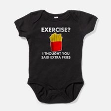 Exercise Extra Fries Baby Bodysuit