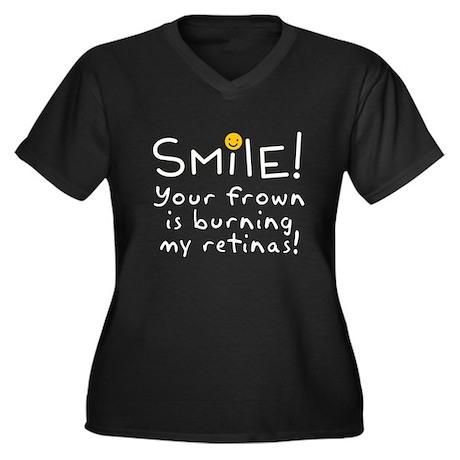 Smile! Women's Plus Size V-Neck Dark T-Shirt