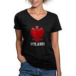 Vintage Poland Women's V-Neck Dark T-Shirt
