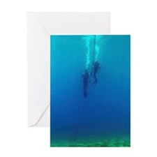 Divers Descending Blank Greeting Card