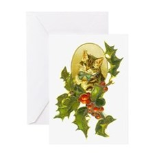 Cute Vintage Christmas Cat Greeting Card