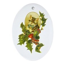 Cute Vintage Christmas Cat Oval Ornament
