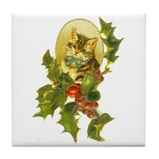 Cute Vintage Christmas Cat Tile Coaster