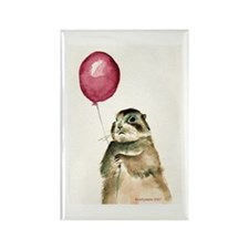 Prairie Dog With Balloon Rectangle Magnet