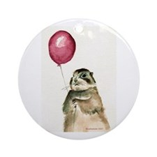 Prairie Dog With Balloon Ornament (Round)