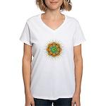 Om Orange/Green Burst Women's V-Neck T-Shirt