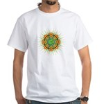 Om Orange/Green Burst White T-Shirt