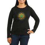 Om Orange/Green Burst Women's Long Sleeve Dark T-S