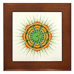 Om Orange/Green Burst Framed Tile