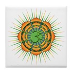 Om Orange/Green Burst Tile Coaster