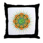 Om Orange/Green Burst Throw Pillow