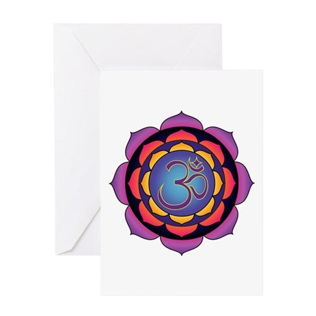 Om Sunset Lotus Greeting Card
