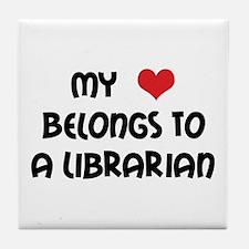 Heart Belongs Librarian Tile Coaster