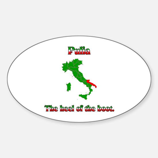 Pulia, the heel of the boot. Oval Decal