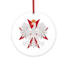 Polish Eagle Red Maltese Cros Ornament (Round)