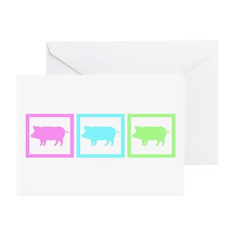 Pig Pastel Squares Greeting Cards (Pk of 20)