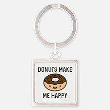 Donuts Make Me Happy Square Keychain