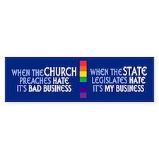 CHURCH AND STATE Bumper Car Sticker