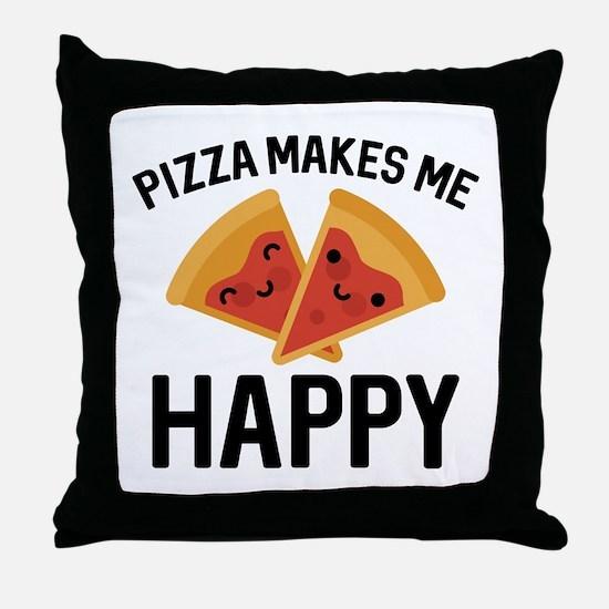 Pizza Makes Me Happy Throw Pillow
