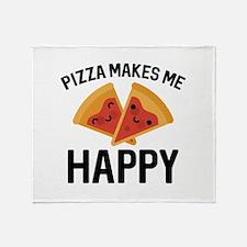 Pizza Makes Me Happy Stadium Blanket