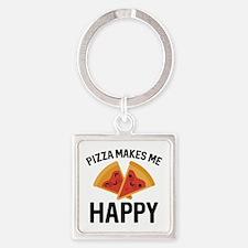 Pizza Makes Me Happy Square Keychain