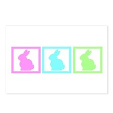 Rabbit Pastel Squares Postcards (Package of 8)