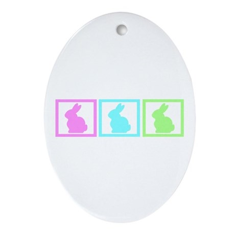 Rabbit Squares Ornament (Oval)