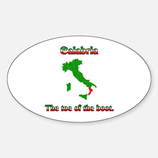 Calabria, the toe of the boot. Oval Decal