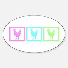 Chicken Squares Sticker (Oval)