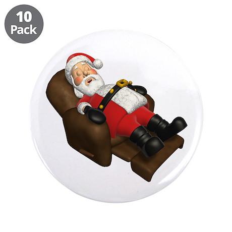 "Sleeping Santa 3.5"" Button (10 pack)"