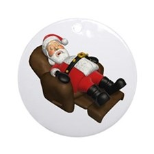 Sleeping Santa Ornament (Round)