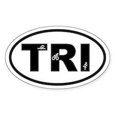 Triathlon Swimmer Biker Runner Oval Decal