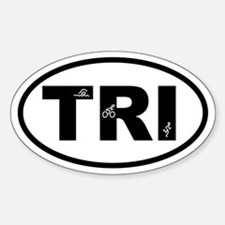 Triathlon Swimmer Biker Runner Oval Decal