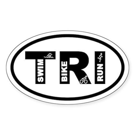Triathlon Swim Bike Run Oval Sticker