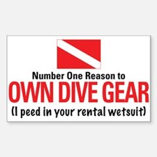 Own Dive Gear (Pee in Wetsuit) Sticker (Rectangula