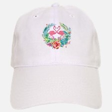 Colorful Tropical Wreath & Flamingos Baseball Baseball Cap