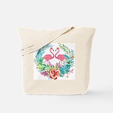 Colorful Tropical Wreath & Flamingos Tote Bag