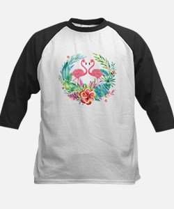 Flamingos With Colorful Tropical W Baseball Jersey