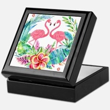 Colorful Tropical Wreath & Flamingos Keepsake Box