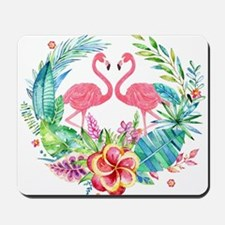 Colorful Tropical Wreath & Flamingos Mousepad